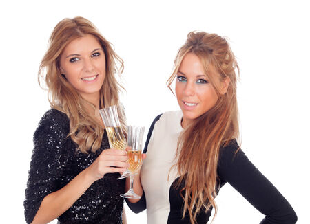 Group of friends toasting with champagne pretty in a celebration during christmas photo