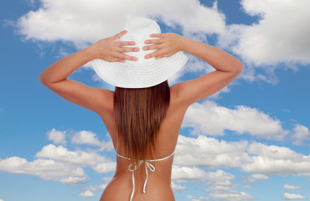 hot sexy girls: Sexy girl back in bikini with a blue sky of background