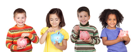 Four funny children with money-box isolated on a white background photo