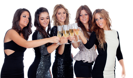 Group of friends toasting with champagne in a celebration during christmas photo