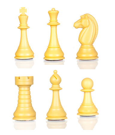 vulnerable: Six chess figures isolated on a white background
