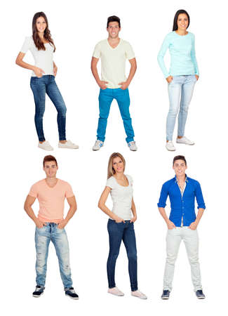 Casual and young people isolated on a white background photo