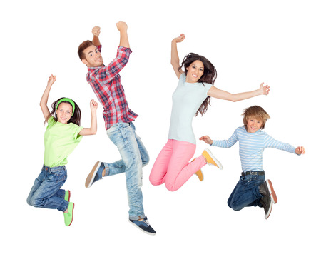 thirties portrait: Young happy family jumping isolated on a white background