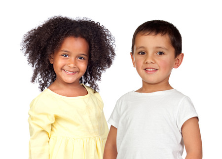 Two adorable children isolated on a white background
