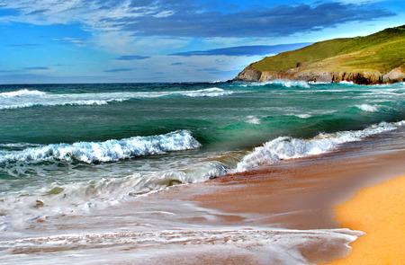 Belle photo simulant une peinture à l'huile d'un paysage marin Banque d'images - 33855159