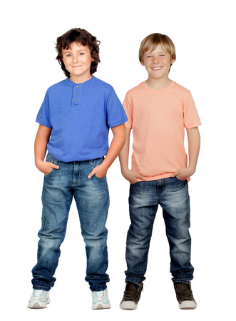 beautiful little boys: Two little boys isolated on a white background