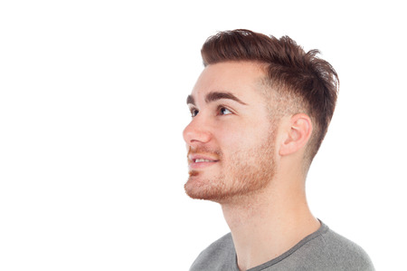 from side: Profile of a casual men isolated on a white background