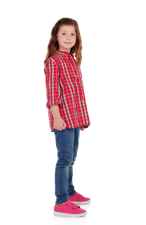 6 7 years: Adorable little girl with red plaid shirt isolated on a white background Stock Photo