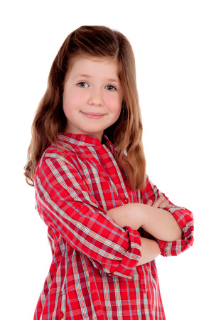 Adorable little girl with red plaid shirt isolated on a white background Stockfoto