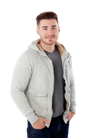 snug: Casual men isolated on a white background Stock Photo