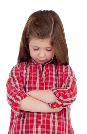 chemise carreaux: Sad little girl avec chemise � carreaux rouge isol� sur un fond blanc Banque d'images