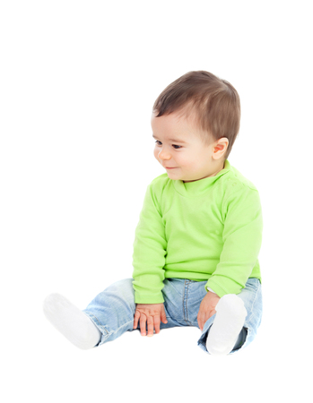0 1 months: Beautiful baby  sitting on the floor isolated Stock Photo