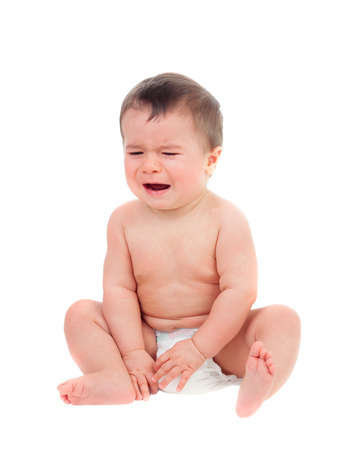 Cute baby in diaper crying isolated on a white background Stock Photo