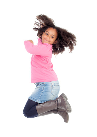 Adorable african little girl jumping isolated on white background