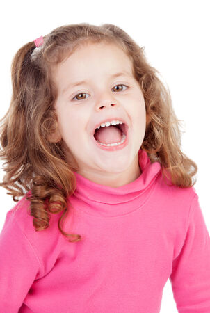 laughing out loud: Little girl in pink laughing out loud isolated on a white background
