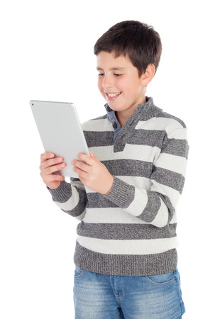 preteen boys: Boy with a tablet isolated on a white background