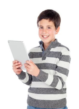 preteen boys: Happy boy with a tablet isolated on a white background