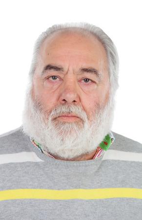Serious senior man with white beard isolated on background