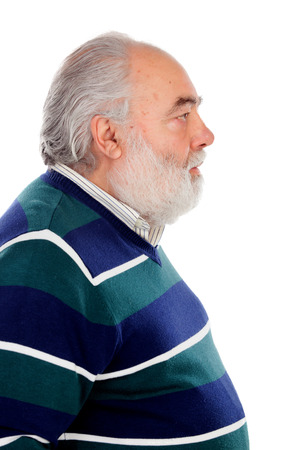 side  profile: Profile of senior man with beard isolated on a white background Stock Photo