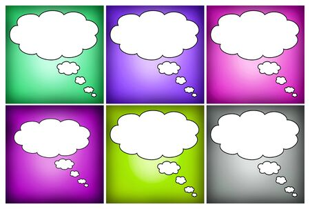 oncept: Colorful mosaic thought bubbles blank for text Stock Photo