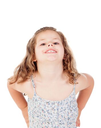 three year old: Cute little girl with three year old fooling on a white background