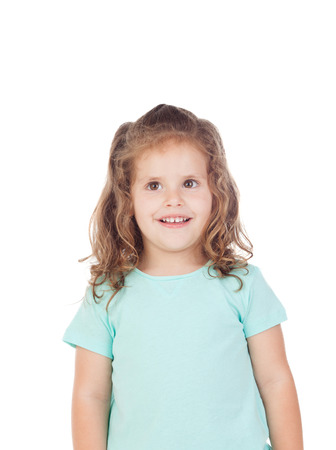 three year old: Cute little girl with three year old smiling on a white background
