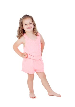 three year old: Cute little girl with three year old looking at camera on a white background Stock Photo