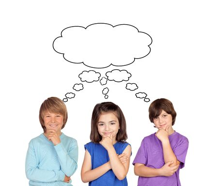child of school age: Three pensive children isolated on a white background