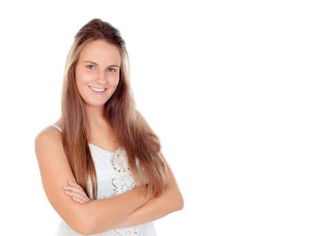 capelli lunghi: Fresco giovane donna con i capelli lunghi isolati su uno sfondo bianco