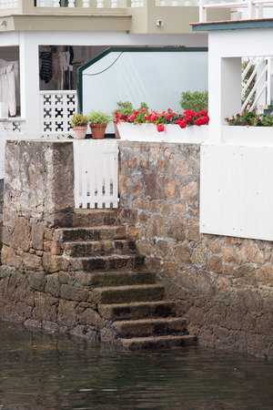 fishing village: Stone stairs leading down to the sea. Redes: fishing village