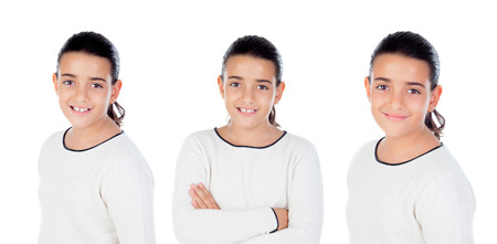 sequence: Sequence of brunette girl isolated on a white background