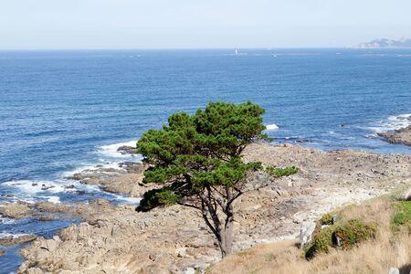 doolin: Beautiful landscape of the coast of Bayona. City in northwestern Spain Stock Photo