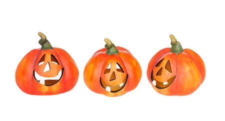 Three funny Halloween pumpkins isolated on a white background Stock Photo