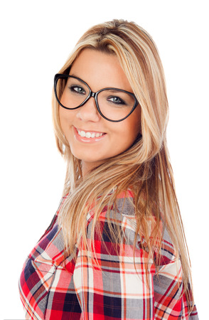 plaid shirt: Cute Blonde Girl with plaid shirt and glasses isolated on a white background Stock Photo