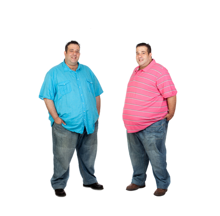 morbidity: Couple obese twins isolated on white background