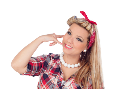 motioning: Cute girl motioning to call in pinup style isolated on a white background Stock Photo