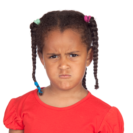 afroamerican: Angry afroamerican girl with braids isolated on a white background