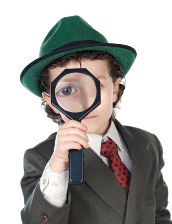 detective: Little detective with magnifying glass to search for the mystery