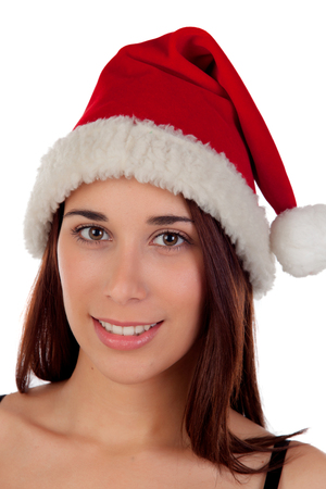 brown eyes: Seductive girl with brown eyes and Christmas cap isolated on a white background Stock Photo
