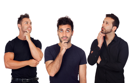 pensive: Three pensive men isolated on a white background