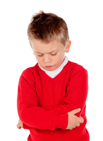 young add: Little angry kid with red jersey isolated on a white background