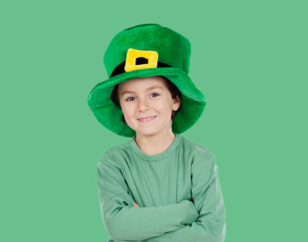 ST: Kid dressed in green with St. Patricks hat