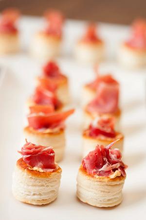 canapes: Snacks tasty snacks, assorted canapes Ham Stock Photo