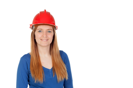 casco rojo: Attractive woman with red helmet isolated on a white background Foto de archivo