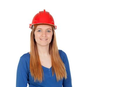 casco rojo: Mujer atractiva con el casco rojo aislado en un fondo blanco