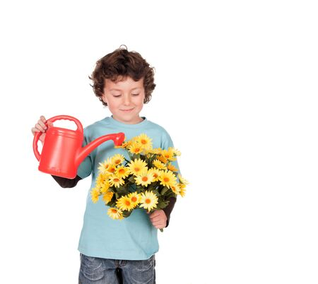 six years: Small six years boy watering some beautiful yellow flowers isolated on white background Stock Photo