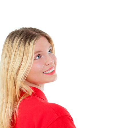 red tshirt: Blonde girl with red t-shirt isolated on a white background Stock Photo