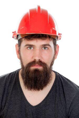 casco rojo: Los hombres jóvenes con mirada inconformista y un casco de color rojo aisladas sobre fondo blanco