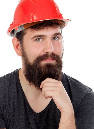 casco rojo: Pensive men with hipster look and red helmet isolated on white background Foto de archivo