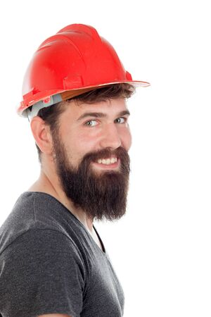 casco rojo: Young men with hipster look and red helmet isolated on white background